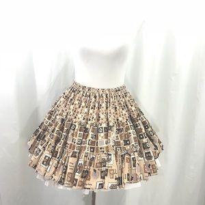 Vintage Brown Calico Full Circle Sewing Skirt M